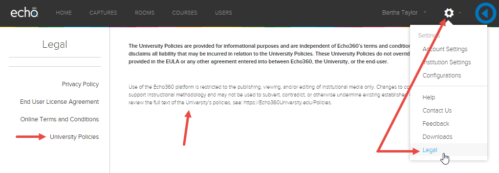 Settings menu showing Legal option that displays University Policies legal text when selected