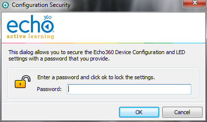 Configuration Security dialog box as described