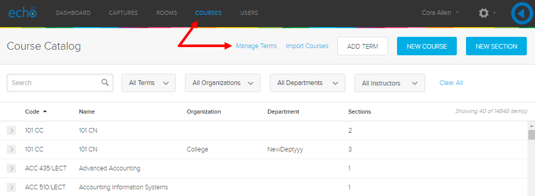 Manage Terms selection shown