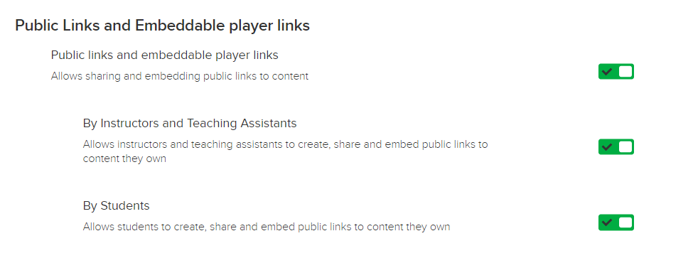 Public content links feature toggle with instructor/teaching assistant and student sub-toggles as described