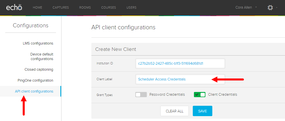 API Client configurations page with fields for steps as described