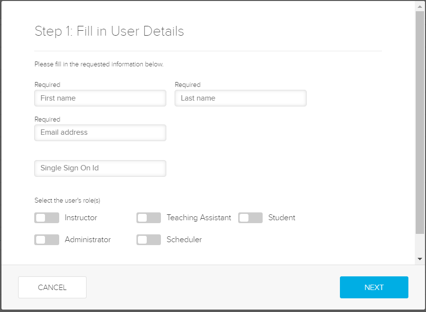 Add user details dialog box with fields for steps as described