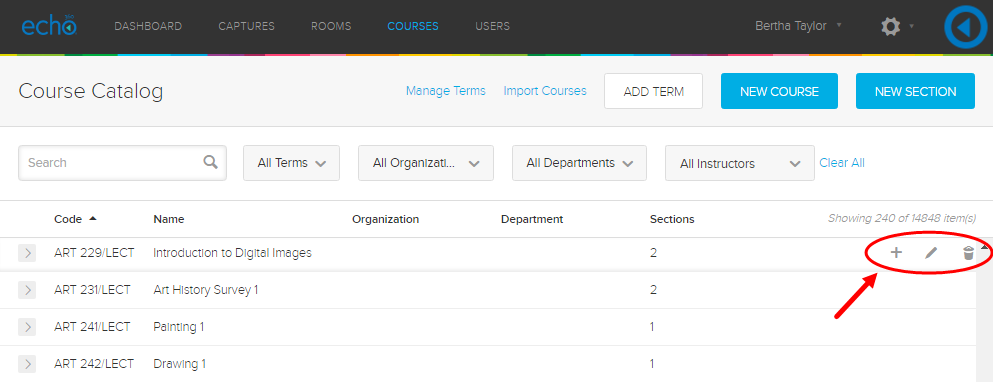 Admin course list with action icons for a course identified