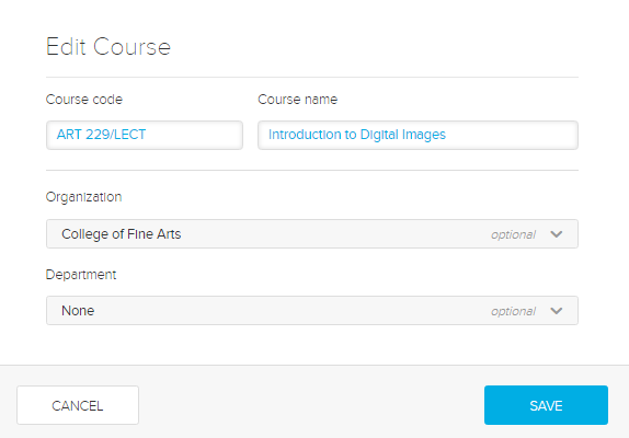 Edit course modal with options for steps as described