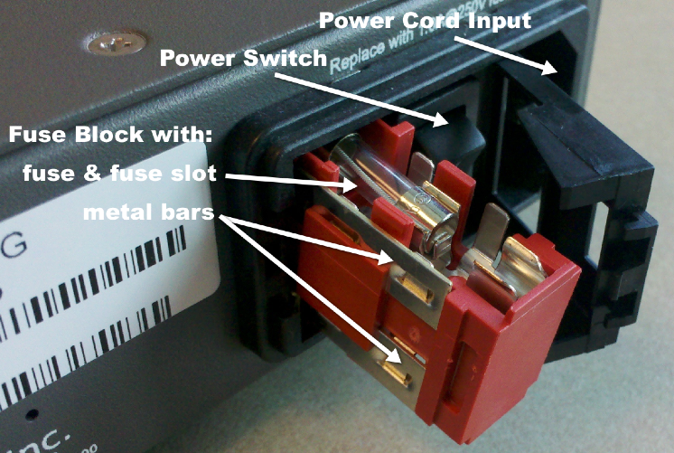 back of SCHD with power switch assembly items identified