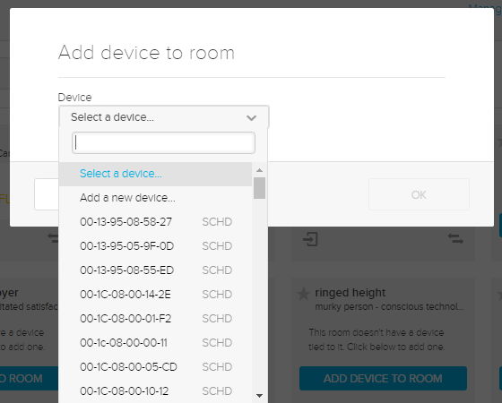 Add device to room dialog box with select a device drop-down list shown