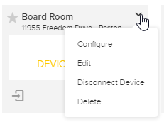 Room tile with menu open showing options for steps as described