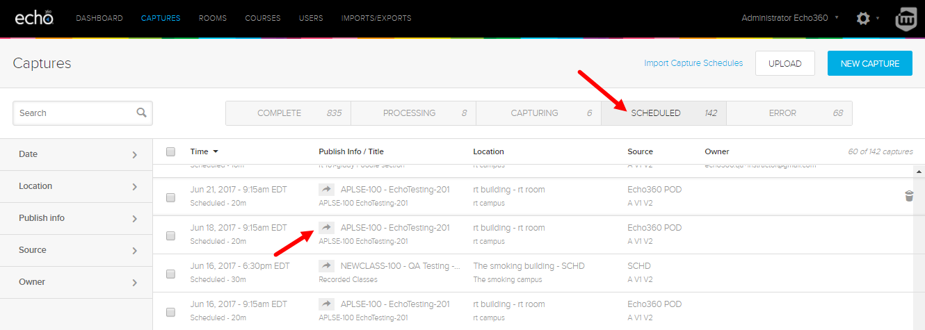 admin captures page showing scheduled captures and a capture row for selection
