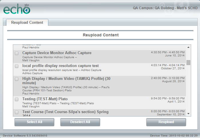 Reupload content list of device web interface for steps as described