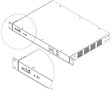 drawing of PRO device with properly installed front mounting brackets including zoomed in and zoomed out views