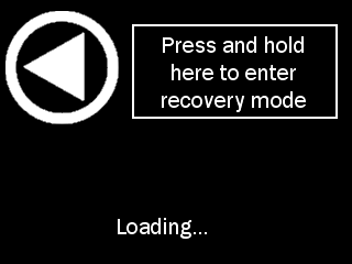 press to enter recovery mode screen on startup of Pod as described