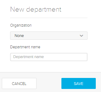 new department dialog box with options for steps as described