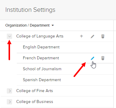 edit department icon with expanded organization shown as described