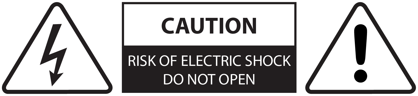 Warning symbols indicating a risk of electric shock