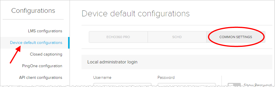 Device configuration page with common settings tab identified.