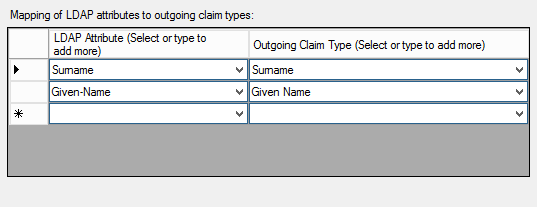 LDAP Attributes section of outgoing claim type mapping for steps as described