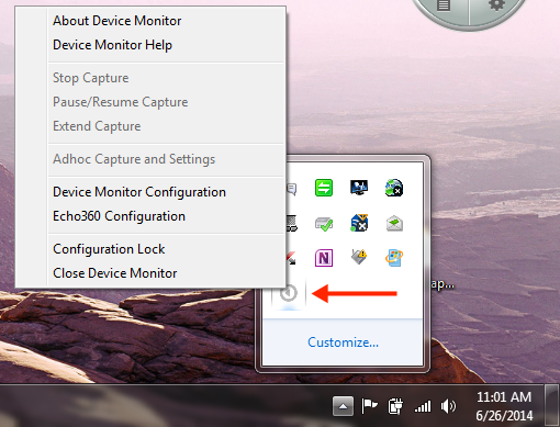 System Tray icon menu for device monitor with options as described