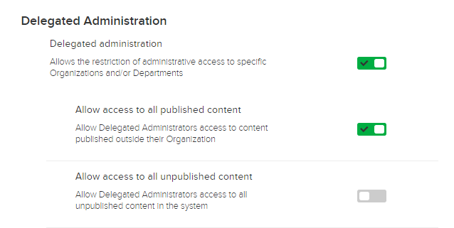 Delegated Administration toggle options giving access to all published and/or unpublished captures as described