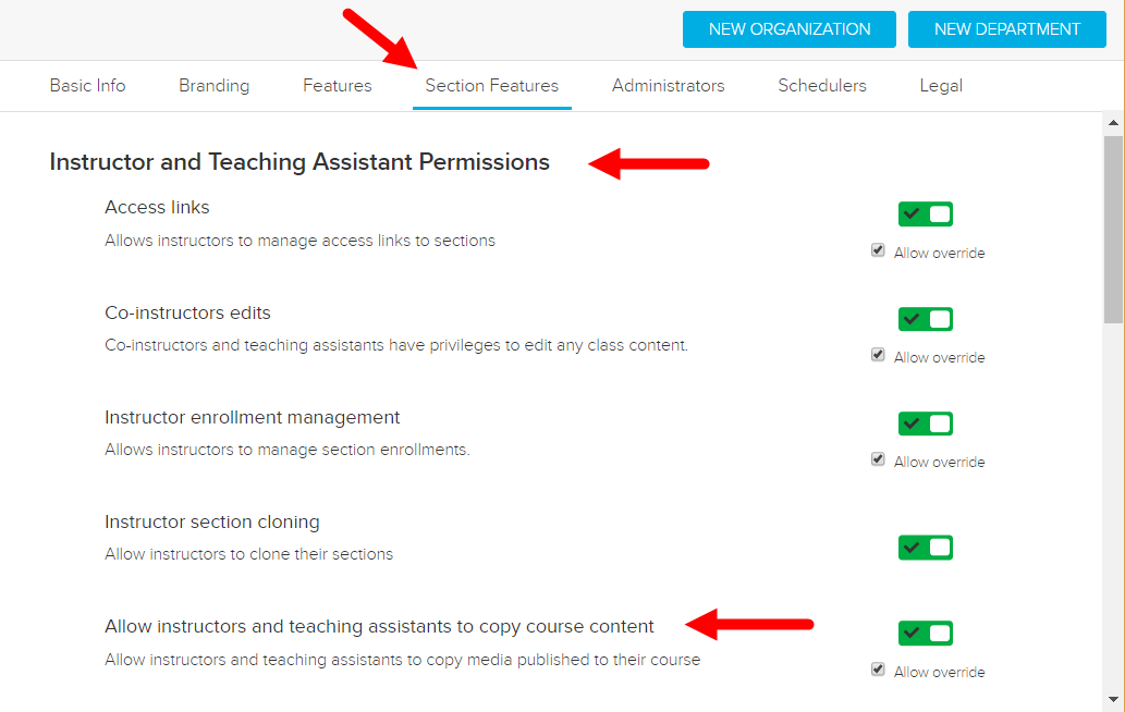 Section feature to allow instructors and teaching assistants to copy course published content