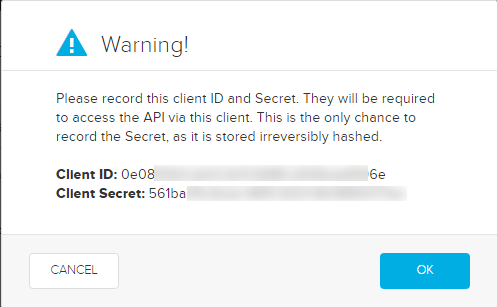client ID and secret generated for access as described