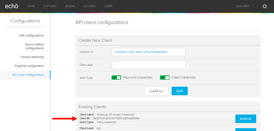 client configurations page showing newly generated API client information
