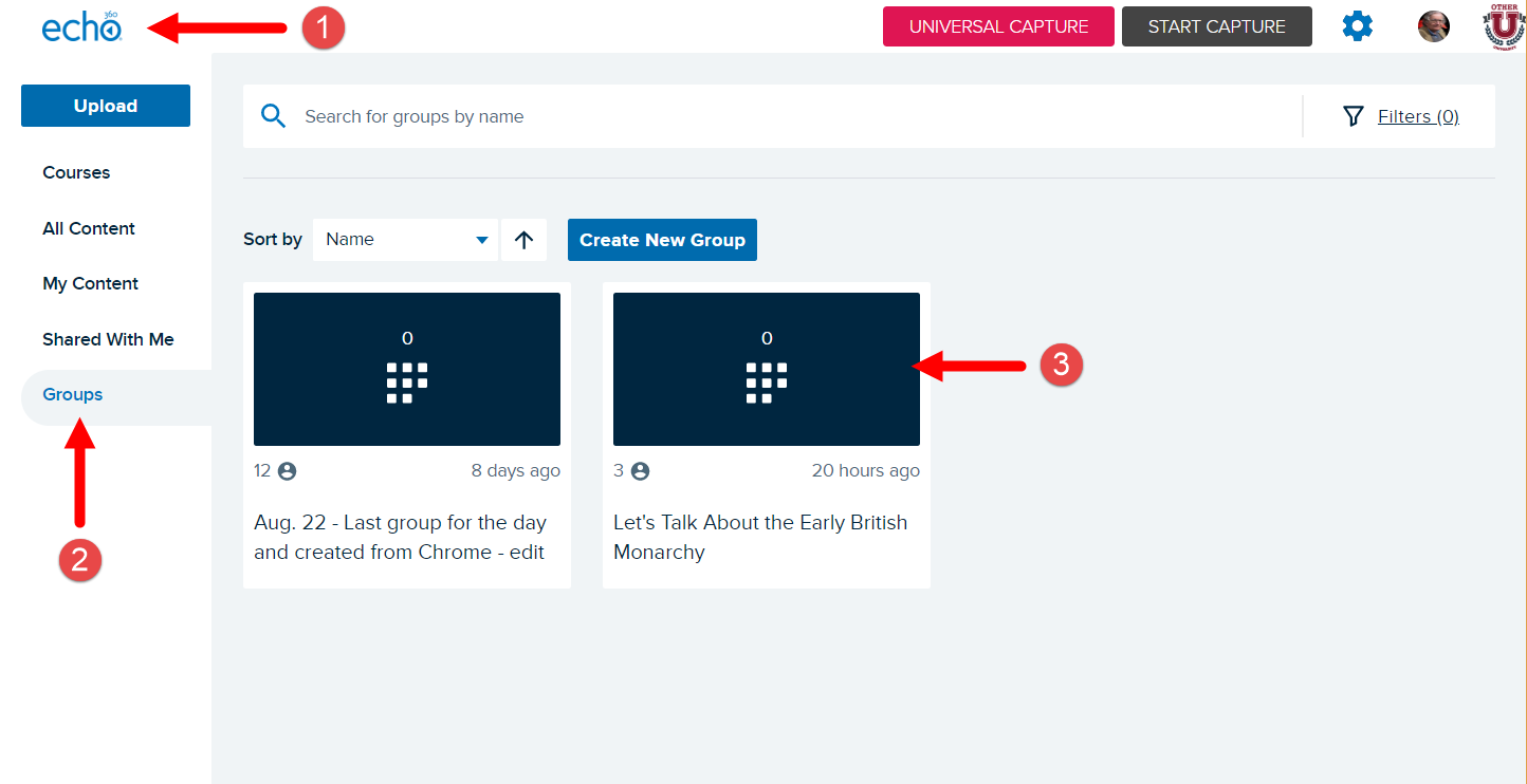 Echo360 Groups page with numbered arrows pointing to click locations for steps as described