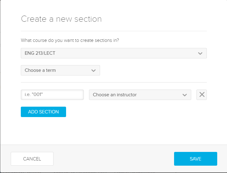 Create new section dialog box with fields and selections for steps as described