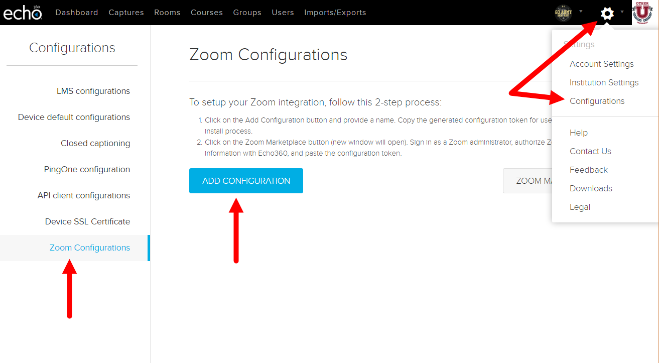 Echo360 Configurations page with navigation and Zoom configuration option identified as described