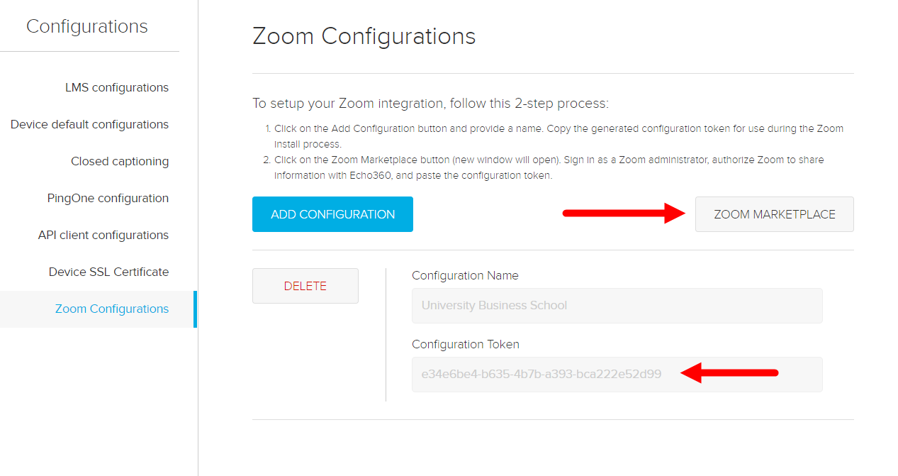 Zoom Configuration page in Echo360 with Zoom token for copying and Zoom Marketplace button identified