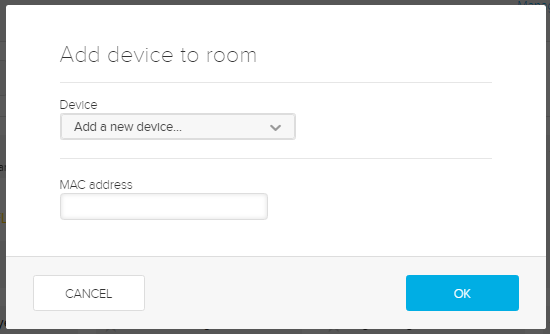 Add device dialog box with MAC address field for steps as described