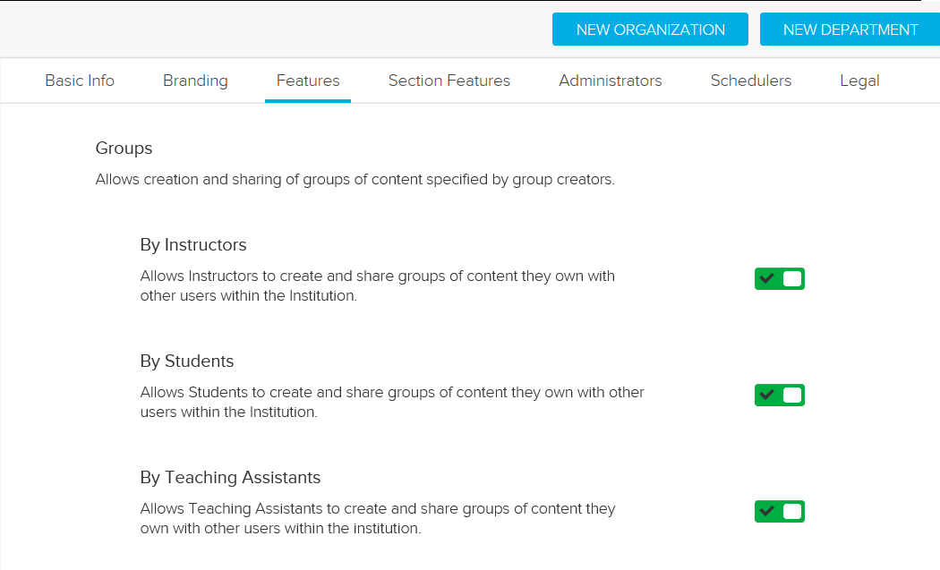 Groups feature toggles with Instructor, Teaching Assistant, and Student options shown for steps as described