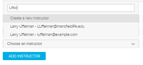 Select instructor list narrowed by name typed into search box as described