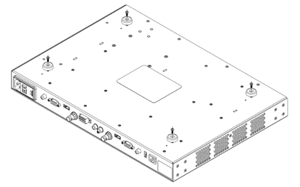 drawing of underside of PRO device indicating removal of plastic feet and screws as described