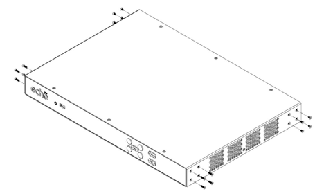 drawing of PRO device showing removal of screws from sides of device as described
