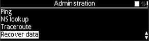 Administration menu with Recover data option selected as described
