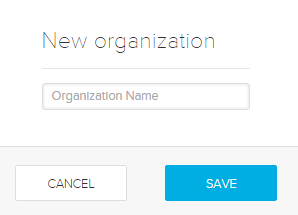 new organization dialog box with items for steps as described