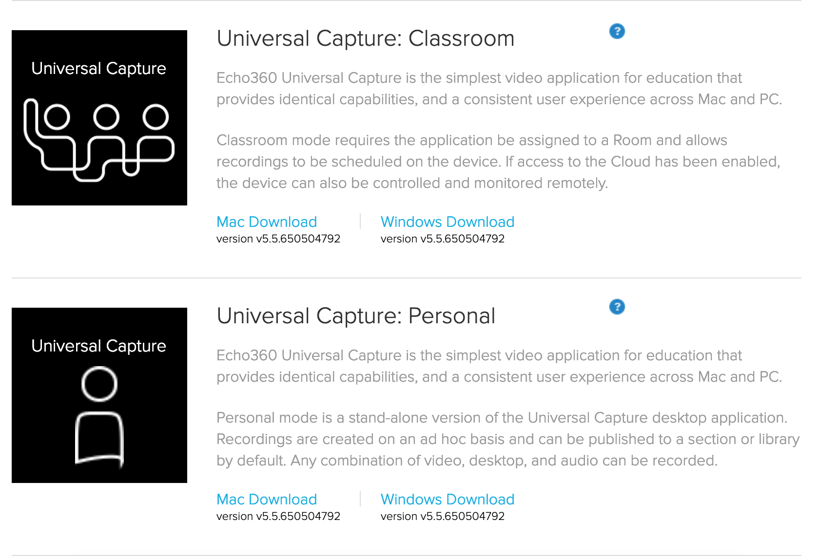 Universal Capture download options (Admin view)