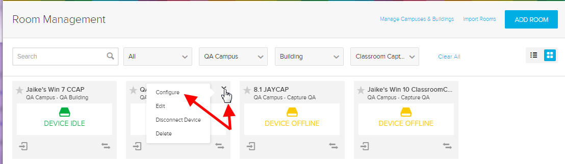 device menu with configure option identified as described