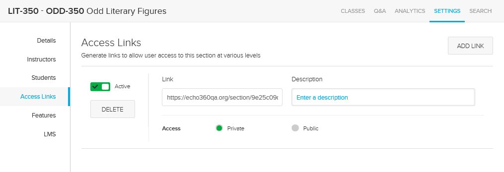 Section Access Links page for SSO institution after PingOne configuration changes