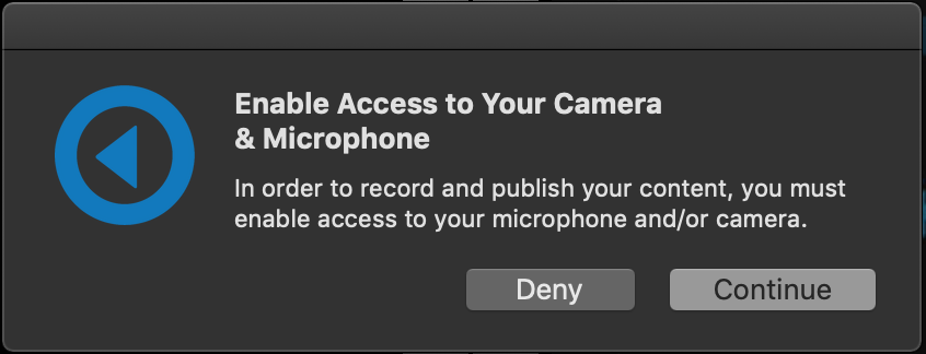 App notification to enable camera and mic access