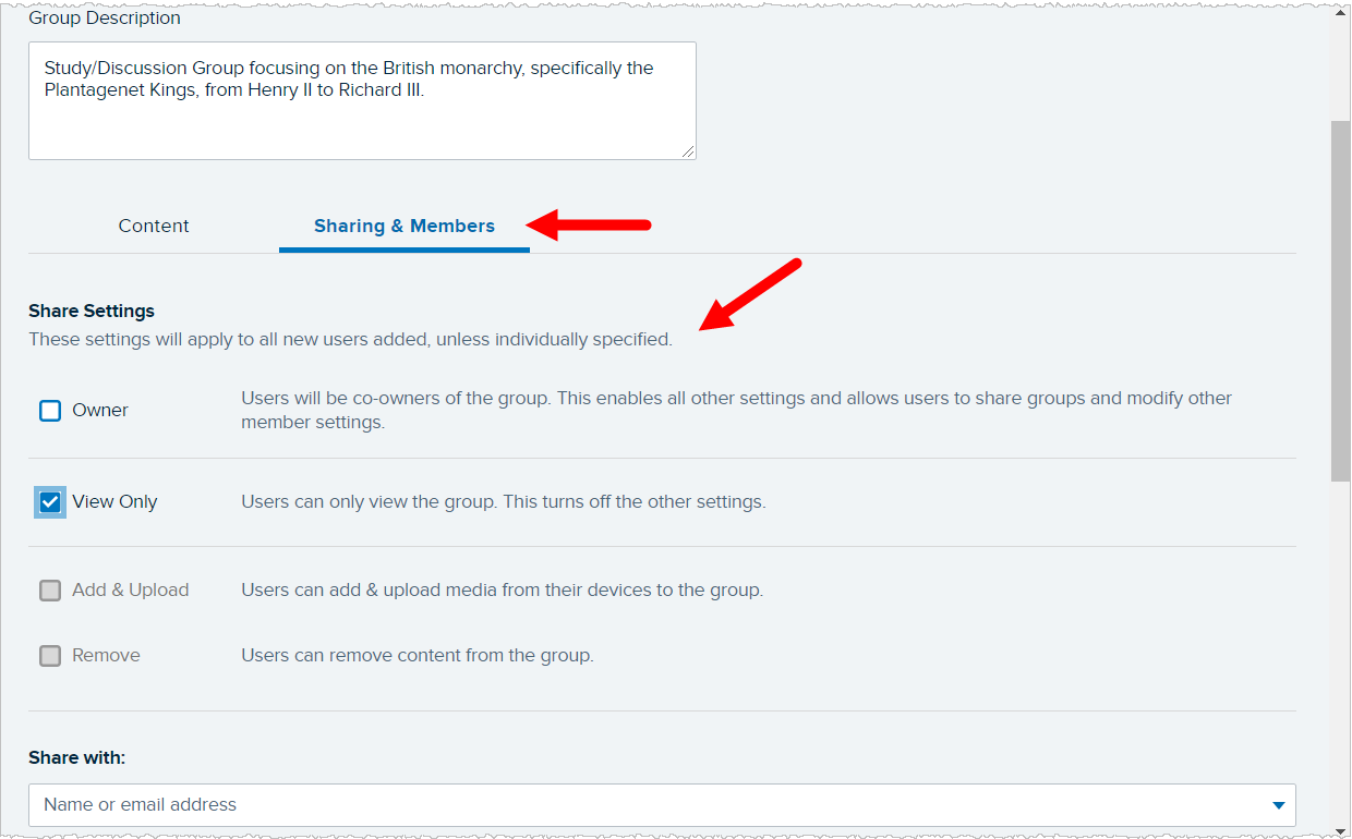 Sharing and Members area of the Groups page with default share settings identified for steps as described