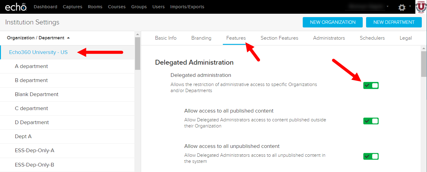 Institution features list with delegated admin toggle identified for disabling as described.