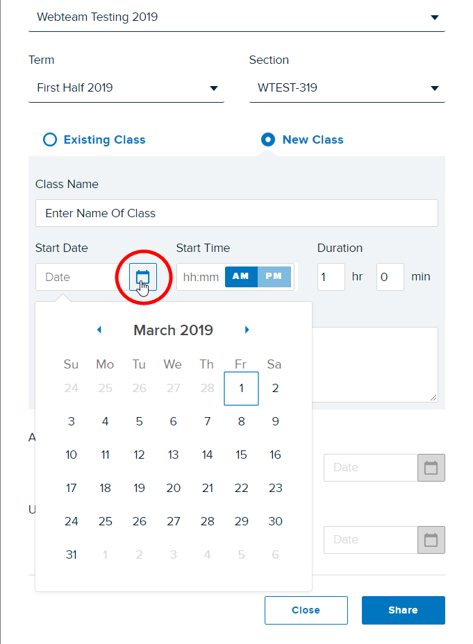 Share to New Class options selected with Date field active and Calendar date picker showing as described