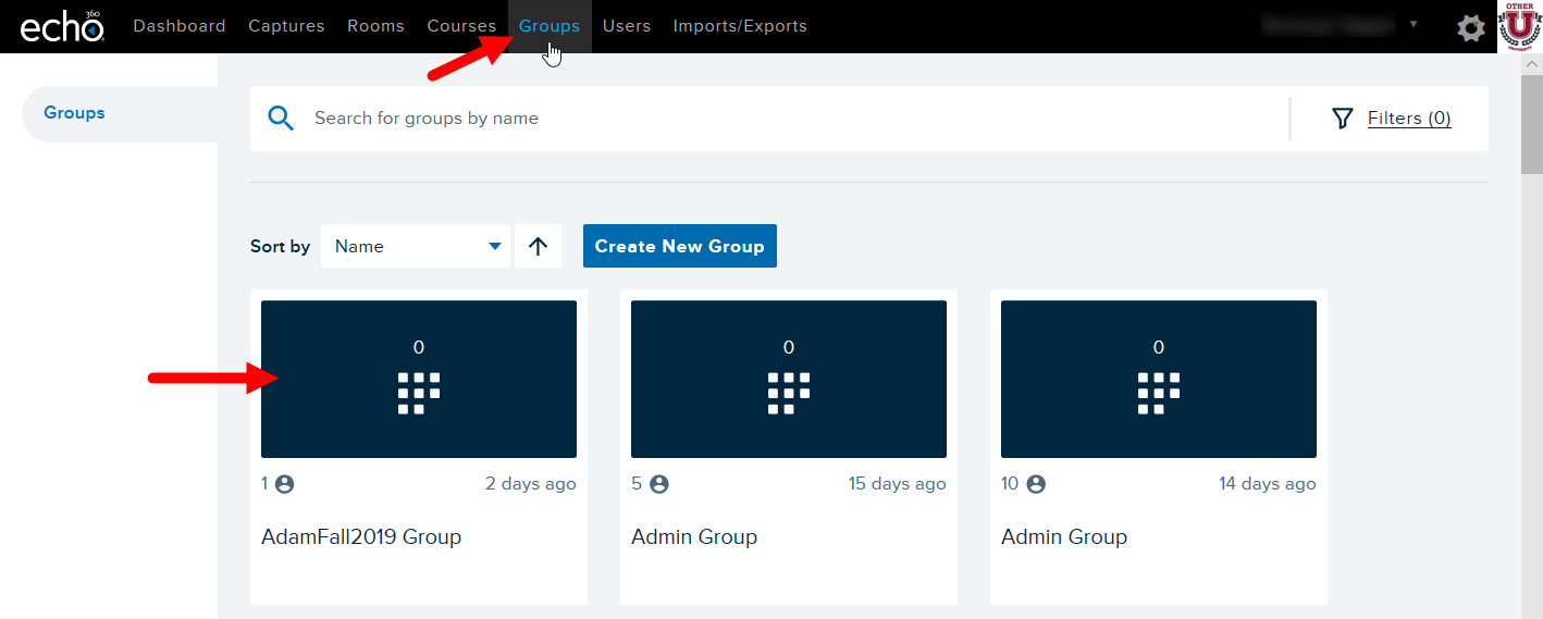 Administrator Groups tab with group tiles shown for accessing groups as described