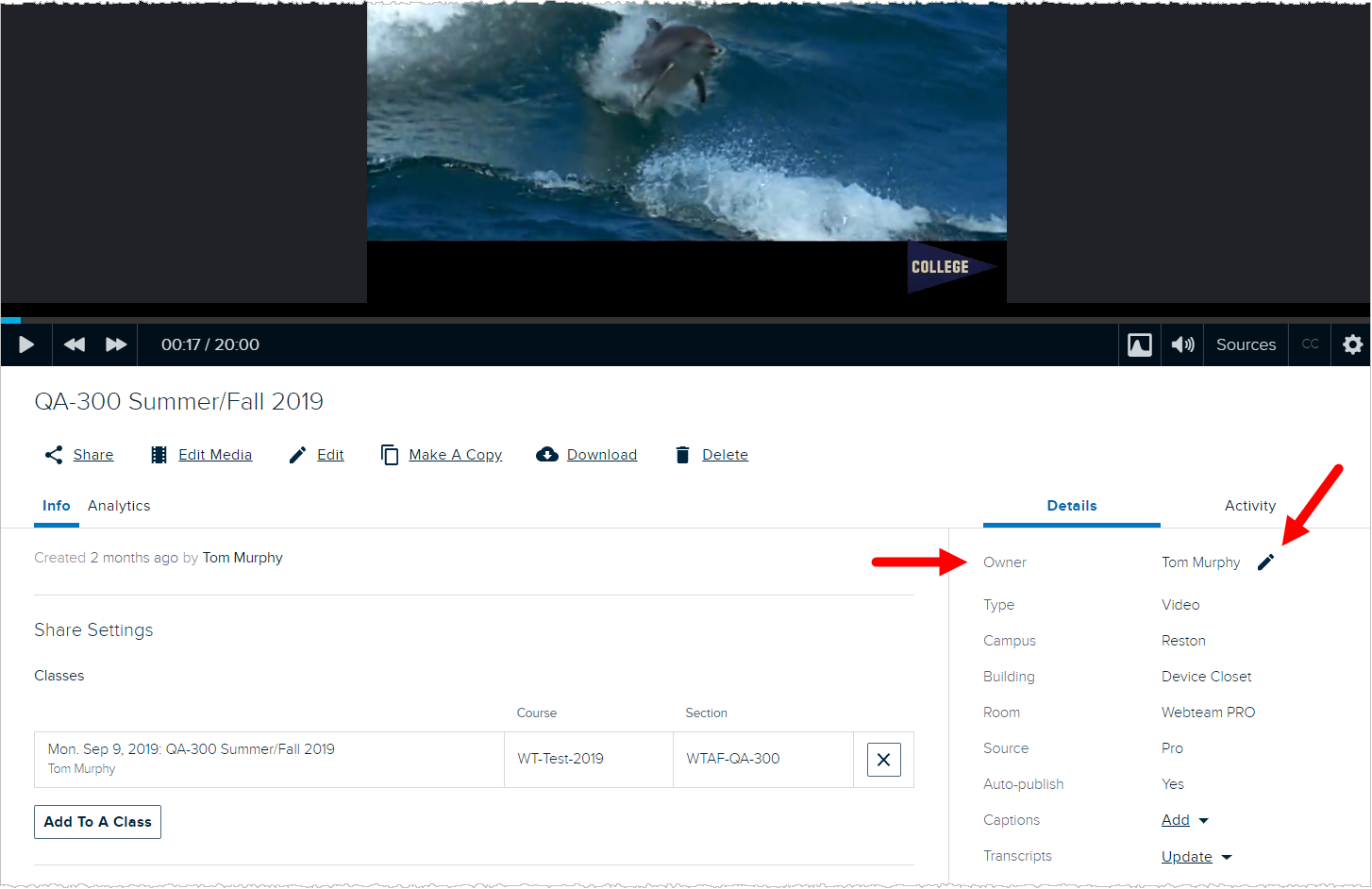 Admin media details page with owner field identified for changing using steps as described