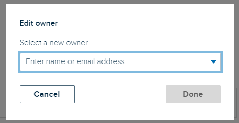 Edit owner dialog box with drop-down list for selecting a different owner for the capture