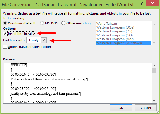 File Conversion dialog box for saving as a text file from Microsoft Word showing options as described