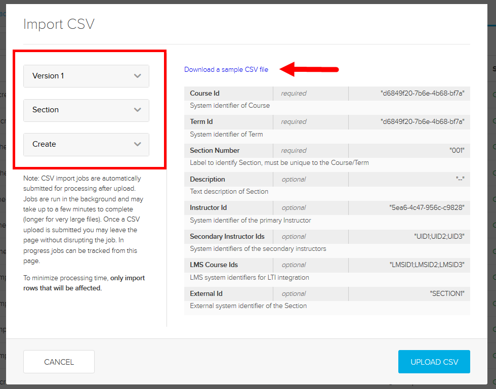 Section Create CSV type selected with sample file download link identified as described