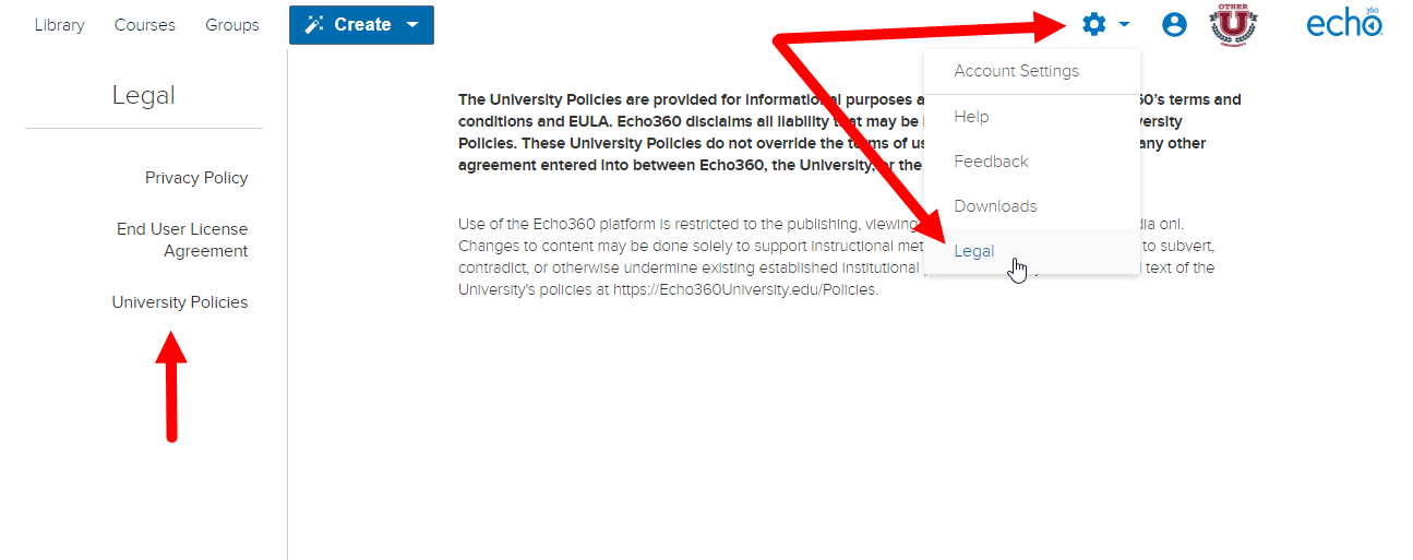 User view of Legal page with University Policies tab shown as described