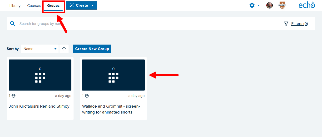 Echo360 Groups page with top navigation and group tiles identified as described